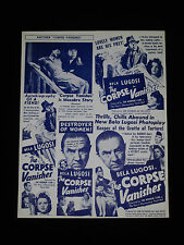 THE CORPSE VANISHES 1942 * BELA LUGOSI * ANGELO ROSSITTO * HORROR HERALD * RARE!