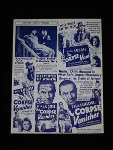 THE CORPSE VANISHES 1942 * BELA 'DRACULA' LUGOSI * ANGELO ROSSITTO * HORROR RARE