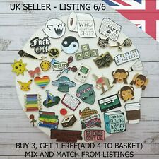 UK Enamel Pins. Fashion Cartoon Pin Fun Badge Brooch Metal Mixed Set Enamel DIY