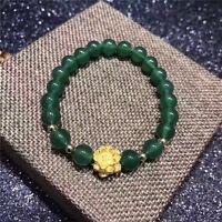 "999 24K Yellow Gold Bracelet 3D Lotus + Green Jade Weave Bracelet 6.7""L"