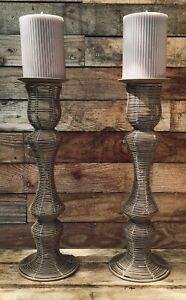 Metal Candle Holders set of two holders perfect for Pillar Candles pre-owned