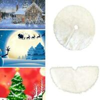 Round Christmas Tree Skirt Faux Fur Ornament Xmas Party Decor Tree best 152 L3E2