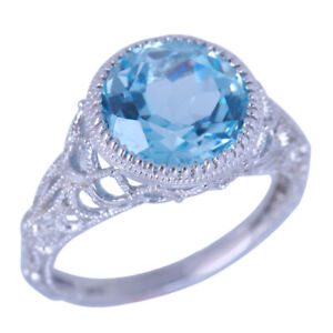 Sale 14K White Gold Round Sky Blue Topaz Vintage Engagement Fine Rings Diamond