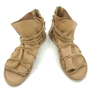 BASKE CALIFORNIA NOMAD NUDE LEATHER  SANDALS Zip Up Strappy Roman Women's US 10
