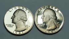 1981-S Proof Washington Quarter Type 2 Clear 'S' & Type 1 Filled 'S' Deep Cameo