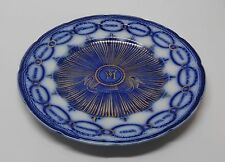 Martha Washington Blue White Plate Gold Accents England for Estate Vintage