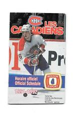 1991-92 NHL Schedule Montreal Canadiens