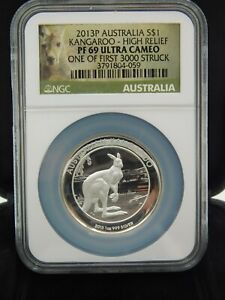 2013 P Australia Kangaroo $1 Silver Proof 1oz NGC PF69 Ultra Cameo High Relief