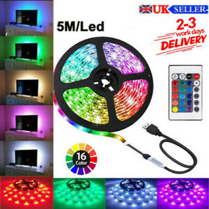 LED Strip TV Lights 5050 RGB Colour Changing Tape Under Cabinet Kitchen Lighting