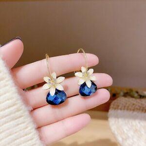 Fashion Christmas Red Earrings Flower Zircon Bead Women Party Drop Dangle Gift