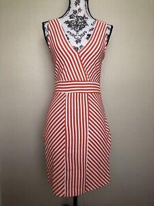 Ya Los Angeles Women Dress Size S V Neck Orange Stripes Sleeves Less And Zipper
