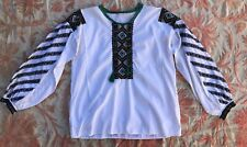 bdd7ef3dd8f9e9 Vintage 1930s 1940s White Cotton Peasant Blouse Colorful Embroidery Long  Sleeces