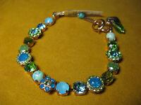MARIANA BRACELET SWAROVSKI CRYSTALS FLOWER GREEN BLUE MULTI COLOR Rose Gold PL