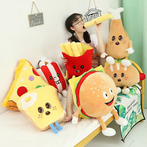 Cartoon Fast Food Plush Pillow Soft Stuffed Hamburger Pizza Chicken Cushion Gift