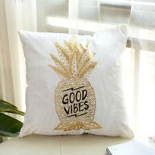 Gold Metallic Love Letter Pillow Case Sofa Waist Throw Cushion Cover 18 Inch