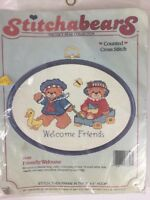"""Dimensions """"Friendly Welcome"""" #7640 Counted Cross Stitch Kit, Lucy Bear NIP VTG"""