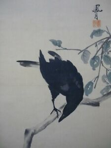 HANGING SCROLL JAPANESE PAINTING JAPAN CROW ANTIQUE Persimmon 151q