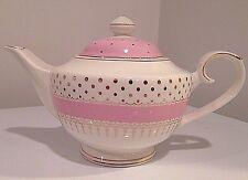 Beautiful Grace's Teaware Pink with Gold Polka Dots Teapot_ New
