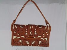 VTG HAND TOOLED LEATHER OVERLAY PURSE COGNAC OVER IVORY HANDMADE IN MEXICO