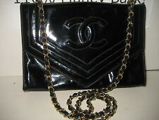 CHANEL Vintage Black Patent Leather CC Envelope Flap Shoulder Bag Gold Chain WOC