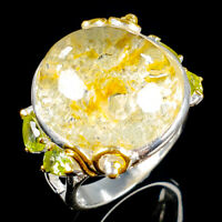 Handmade Natural Ghost Quartz 925 Sterling Silver Ring Size 8/R115773