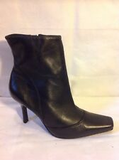 F&F Black Ankle Leather Boots Size 6