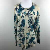 Croft & Barrow 1X Cardigan Sweater Button Up Floral Beige Blue 3/4 Sleeve Cotton
