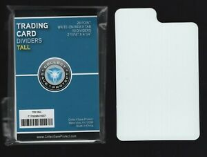 (10-Pack) 28pt TALL Trading Card Dividers - White Tabbed Write On Index Surface