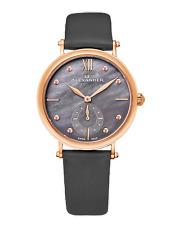Alexander Black MOP Dial Women's Swiss Quartz Gray Satin Leather Watch A201-04