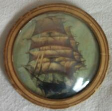 late 1800's clipper ship picture with convex glass
