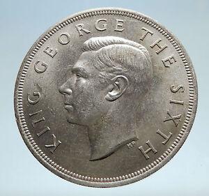 1949 NEW ZEALAND King George VI FERN PLANT UK Vintage Silver Crown Coin i75176