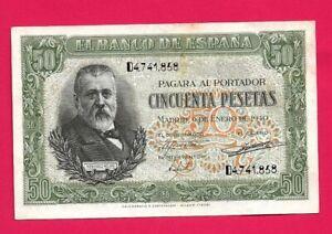50 PESETAS 1940 SERIE D SC- CON SU APRESTO ORIGINAL,ESCASO,EXCELENTE EJEMPLAR.