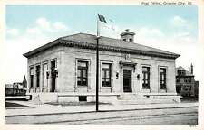Granite City Illinois Post Office Street View Antique Postcard K16989