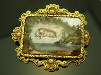Antique 1850 Lion Monument De Lucerne 14Kt Yellow Gold Enamel Pearl Brooch