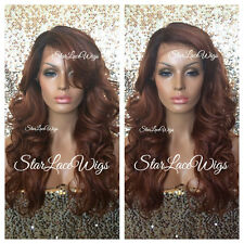 Lace Front Wig Human Hair Blend Curly Bangs Copper Color Dark Roots Heat Safe Ok