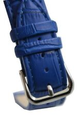 20mm Blue Croco Genuine Leather Padded Silver Buckle Watch Band Strap