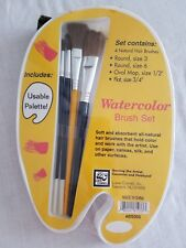 Watercolor 4 Natural Hair Paint Brush Set New Loew Cornell Bs005 Round Flat Oval