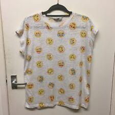 Ladies Light Grey Girl Emoji Smiley Face Cartoon Anime Print T-shirt Top Size 14