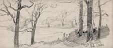 GEORGE CHARLES HAITE Drawing 1898 IMPRESSIONIST BEAULIEU NEW FOREST LANDSCAPE