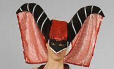 Deluxe Devil Wizard Hood & Veil Halloween Hat Red Fancy Dress NEW P2307