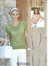 Ladies Tops in Sirdar Cotton DK Yarn, Knitting Pattern 7080