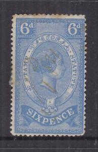 VICTORIA 1871 6d STAMP STATUTE- Revenue -**wmk V/♚** Elsmore Cat $60++FU