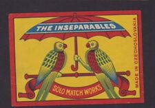 ancienne  étiquette paquet allumettes Tchécoslovaquie 42724 Inseparables Oiseau