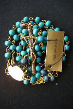 BEAUTIFULLY DETAILED GREEN WOOD BEADS ITALY GOLD PLATED ROSARY