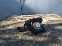 Vintage Soviet Russian USSR Black Rotary Dial Desk Telephone Phone 1972