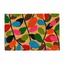Nicola Spring Non-slip Coir Door Mat - 40 X 60cm - Leaves - PVC Backed Welcome