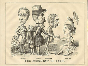 1848 original cartoon print ! the judgement of paris !