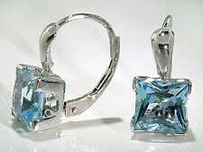 Woman's 14k White Gold Earrings Princess Cut Sky Blue Topaz 5 ctw