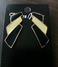 Pierced Earrings Black & Ivory Cream Color Enamel Metal Vintage Retro Bold Style