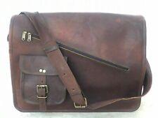 "Leather Vintage Laptop Messenger Handmade Cross Zipper Bag Satchel 18"" New Men"